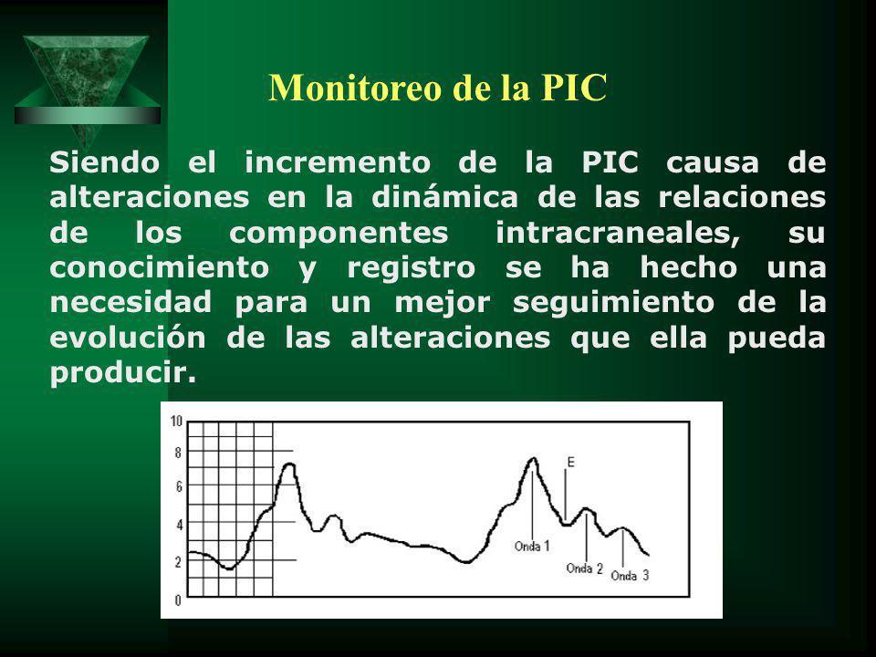 Monitoreo de la PIC Siendo el incremento de la PIC causa de alteraciones en la dinámica de las relaciones de los componentes intracraneales, su conoci