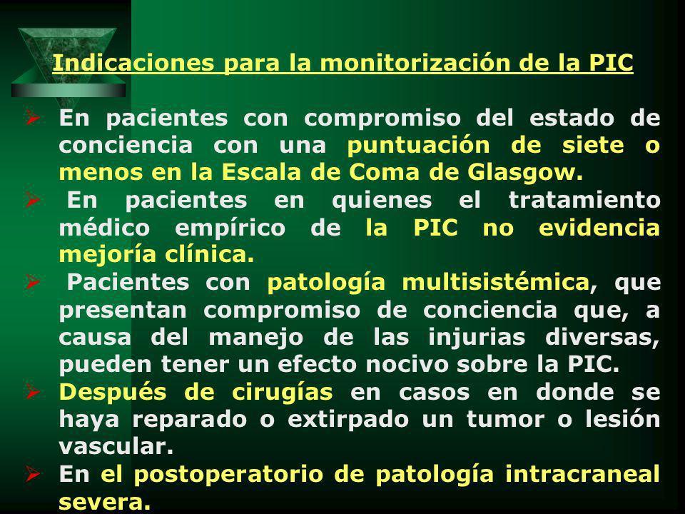 Indicaciones para la monitorización de la PIC En pacientes con compromiso del estado de conciencia con una puntuación de siete o menos en la Escala de Coma de Glasgow.