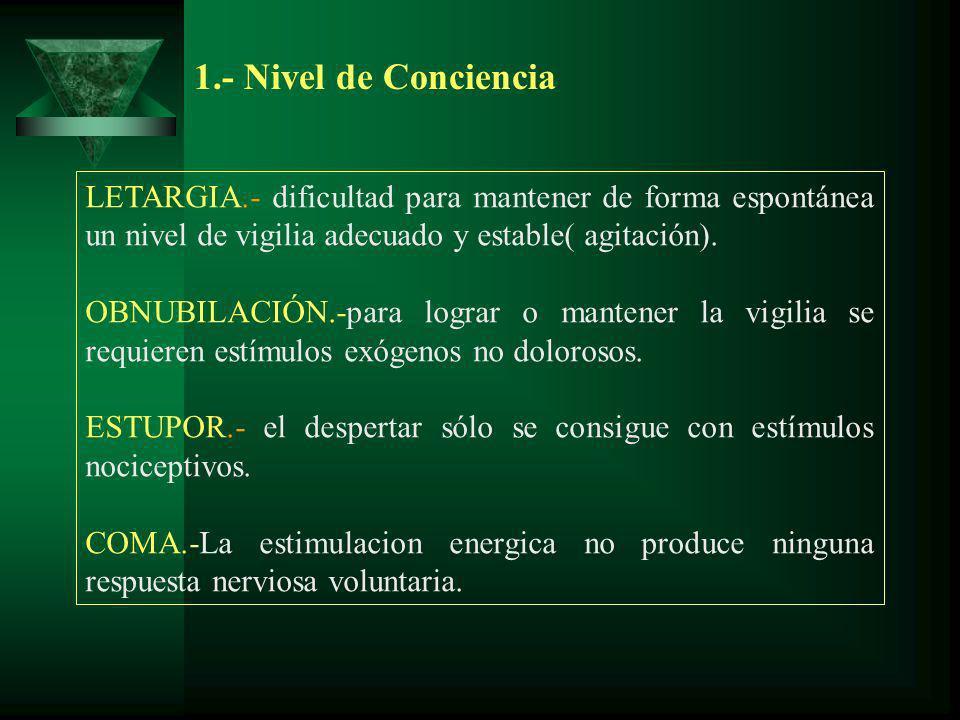 1.- Nivel de Conciencia LETARGIA.- dificultad para mantener de forma espontánea un nivel de vigilia adecuado y estable( agitación). OBNUBILACIÓN.-para