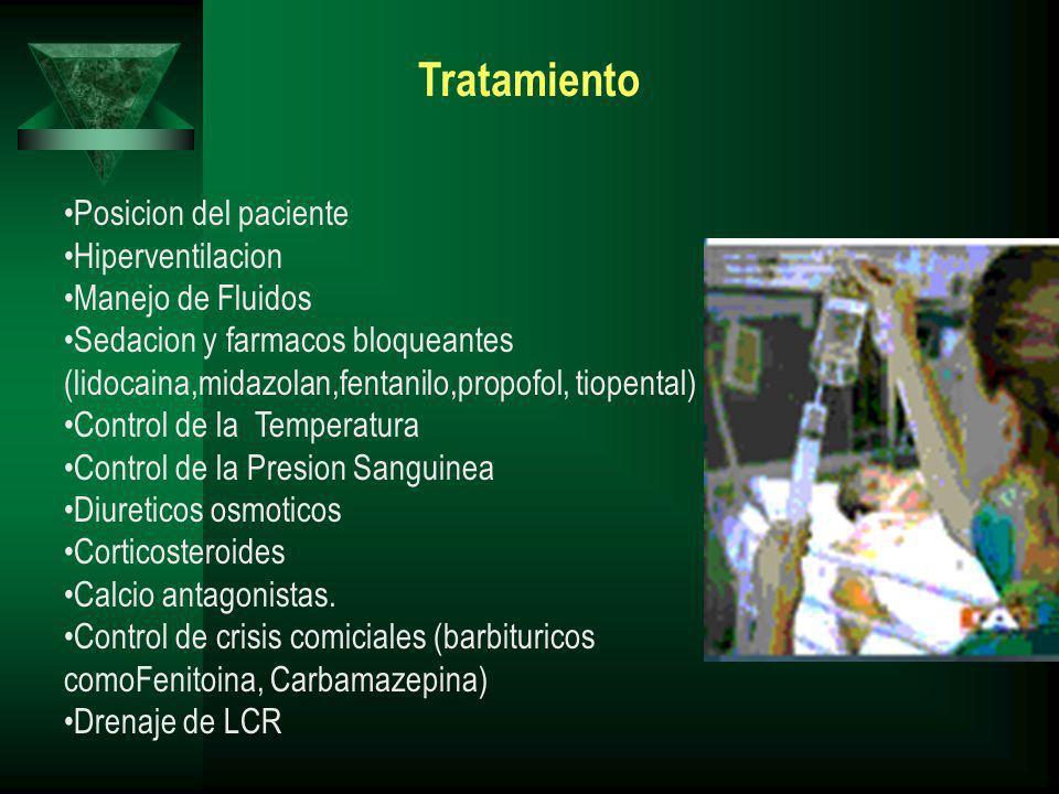 Tratamiento Posicion del paciente Hiperventilacion Manejo de Fluidos Sedacion y farmacos bloqueantes (lidocaina,midazolan,fentanilo,propofol, tiopenta