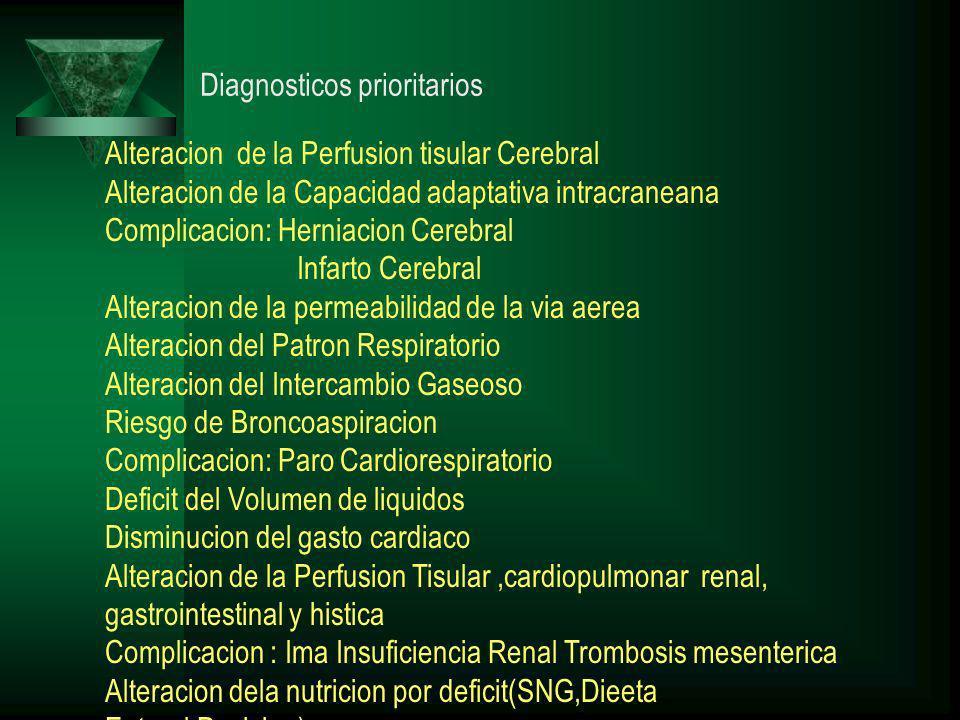 Diagnosticos prioritarios Alteracion de la Perfusion tisular Cerebral Alteracion de la Capacidad adaptativa intracraneana Complicacion: Herniacion Cerebral Infarto Cerebral Alteracion de la permeabilidad de la via aerea Alteracion del Patron Respiratorio Alteracion del Intercambio Gaseoso Riesgo de Broncoaspiracion Complicacion: Paro Cardiorespiratorio Deficit del Volumen de liquidos Disminucion del gasto cardiaco Alteracion de la Perfusion Tisular,cardiopulmonar renal, gastrointestinal y histica Complicacion : Ima Insuficiencia Renal Trombosis mesenterica Alteracion dela nutricion por deficit(SNG,Dieeta Enteral,Posicion)