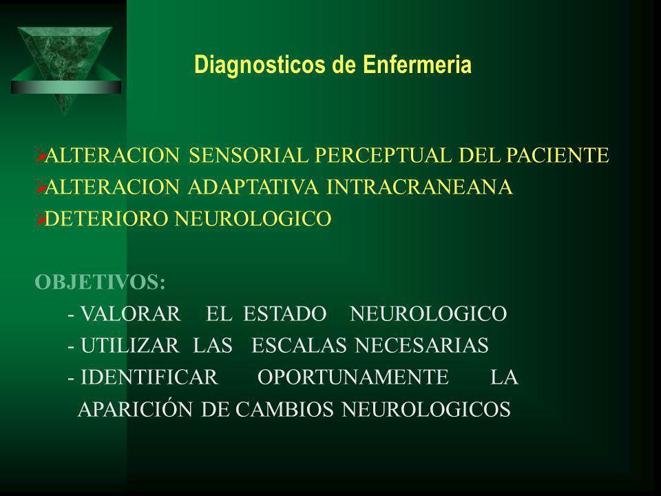 ALTERACION SENSORIAL PERCEPTUAL DEL PACIENTE ALTERACION ADAPTATIVA INTRACRANEANA DETERIORO NEUROLOGICO OBJETIVOS: - VALORAR EL ESTADO NEUROLOGICO - UTILIZAR LAS ESCALAS NECESARIAS - IDENTIFICAR OPORTUNAMENTE LA APARICIÓN DE CAMBIOS NEUROLOGICOS Diagnosticos de Enfermeria