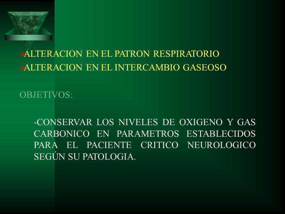 ALTERACION EN EL PATRON RESPIRATORIO ALTERACION EN EL INTERCAMBIO GASEOSO OBJETIVOS: -CONSERVAR LOS NIVELES DE OXIGENO Y GAS CARBONICO EN PARAMETROS E