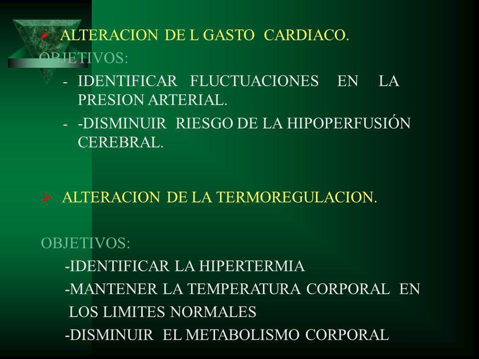 ALTERACION DE L GASTO CARDIACO. OBJETIVOS: - IDENTIFICAR FLUCTUACIONES EN LA PRESION ARTERIAL. - -DISMINUIR RIESGO DE LA HIPOPERFUSIÓN CEREBRAL. ALTER