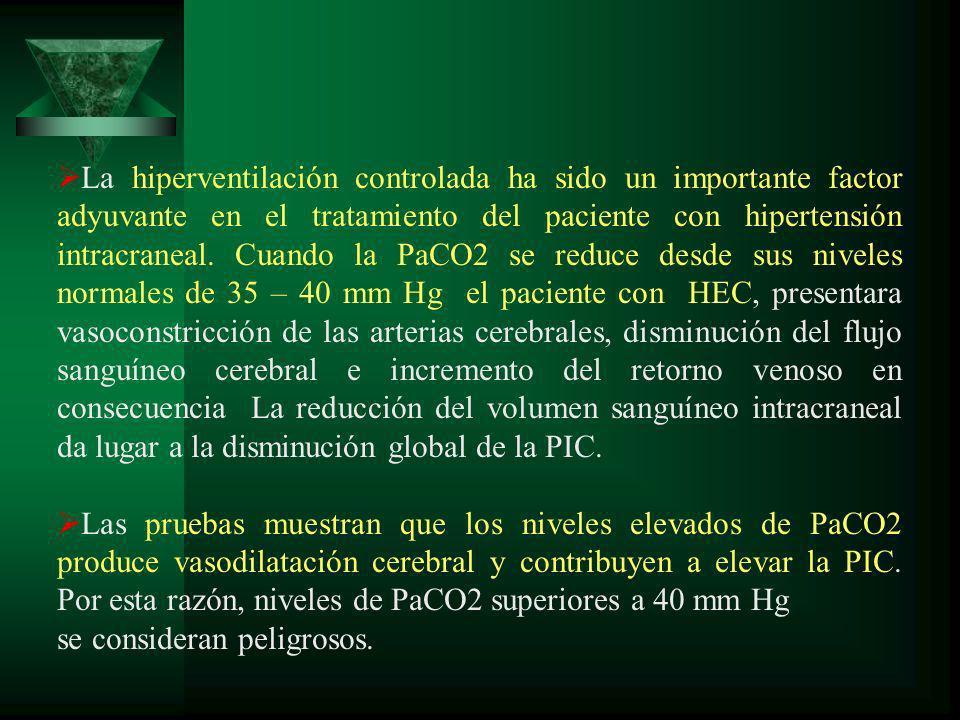 La hiperventilación controlada ha sido un importante factor adyuvante en el tratamiento del paciente con hipertensión intracraneal. Cuando la PaCO2 se
