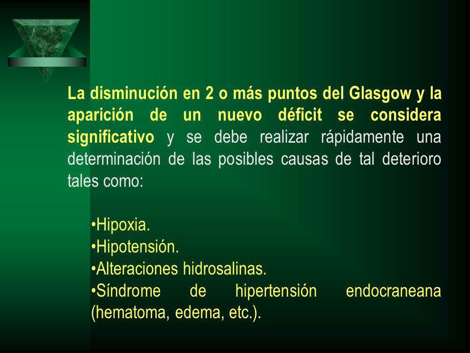 La disminución en 2 o más puntos del Glasgow y la aparición de un nuevo déficit se considera significativo y se debe realizar rápidamente una determinación de las posibles causas de tal deterioro tales como: Hipoxia.