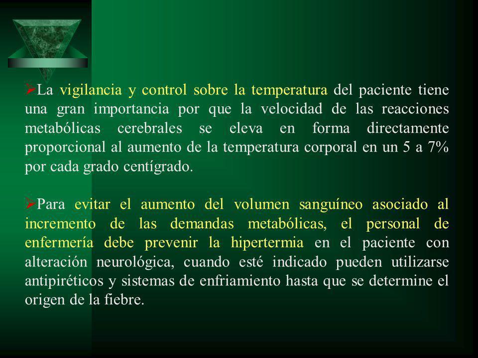 La vigilancia y control sobre la temperatura del paciente tiene una gran importancia por que la velocidad de las reacciones metabólicas cerebrales se