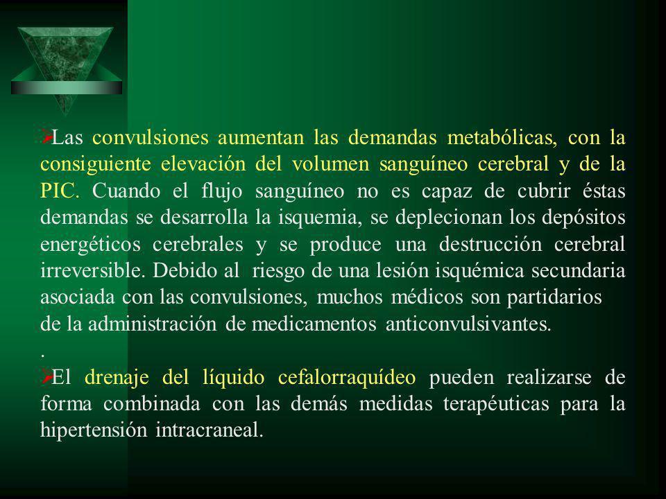 Las convulsiones aumentan las demandas metabólicas, con la consiguiente elevación del volumen sanguíneo cerebral y de la PIC. Cuando el flujo sanguíne