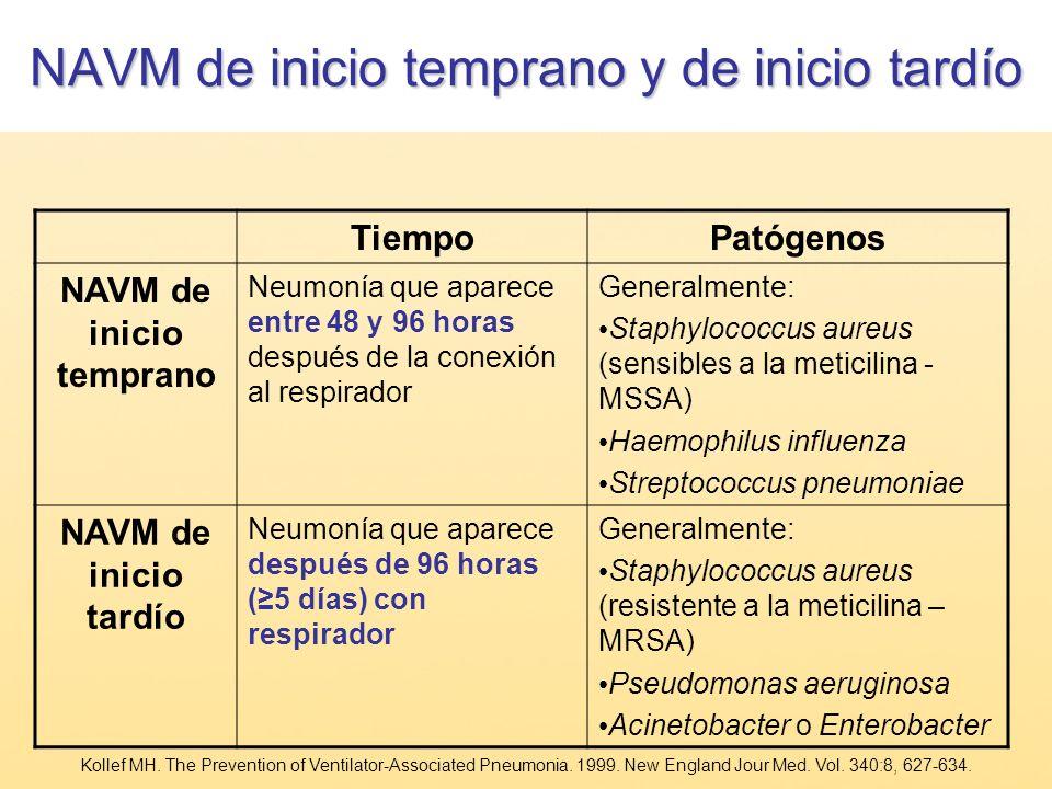 NAVM de inicio temprano y de inicio tardío TiempoPatógenos NAVM de inicio temprano Neumonía que aparece entre 48 y 96 horas después de la conexión al