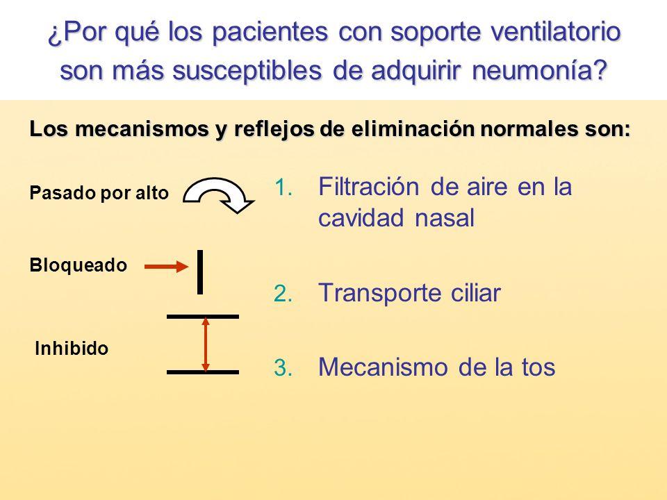 1. Filtración de aire en la cavidad nasal 2. Transporte ciliar 3. Mecanismo de la tos Pasado por alto Bloqueado Inhibido Los mecanismos yreflejos de e