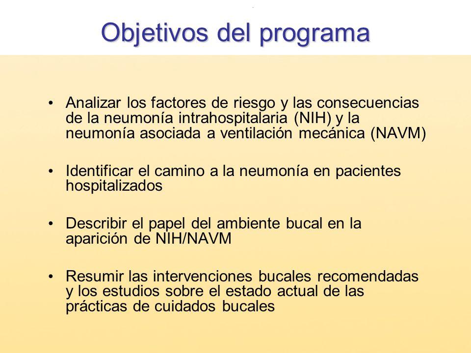 Objetivos del programa Analizar los factores de riesgo y las consecuencias de la neumonía intrahospitalaria (NIH) y la neumonía asociada a ventilación