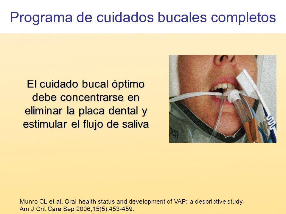 El cuidado bucal óptimo debe concentrarse en eliminar la placa dental y estimular el flujo de saliva Munro CL et al. Oral health status and developmen