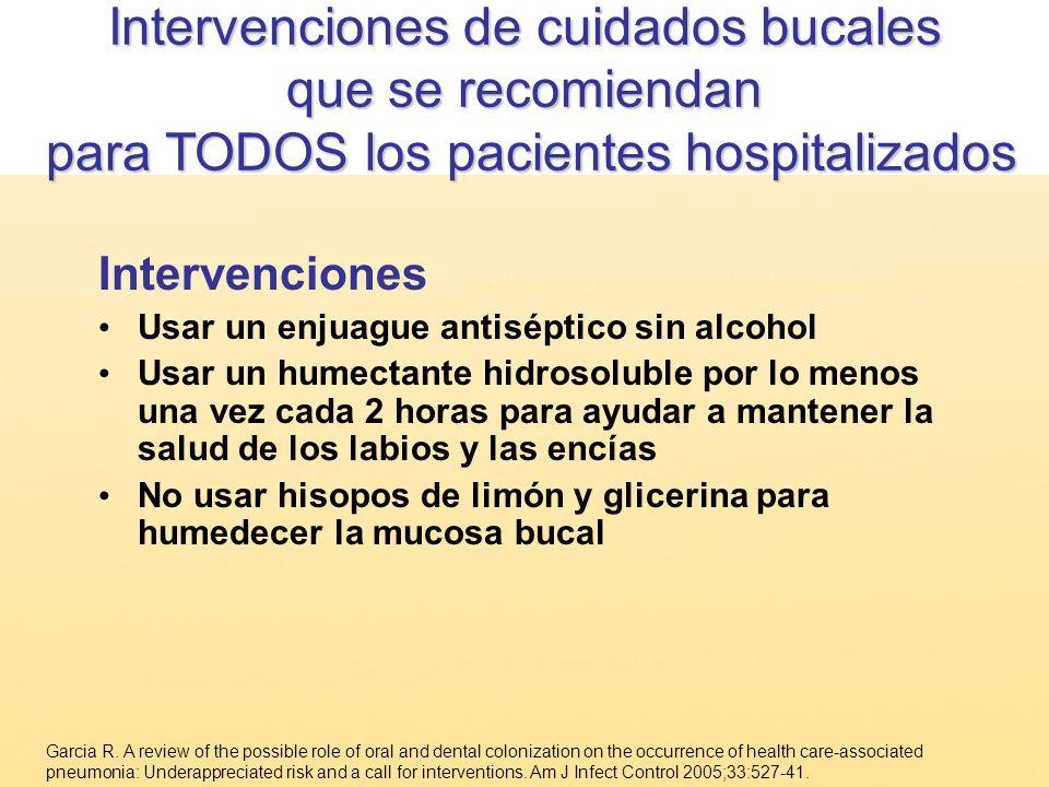 Intervenciones Usar un enjuague antiséptico sin alcohol Usar un humectante hidrosoluble por lo menos una vez cada 2 horas para ayudar a mantener la sa