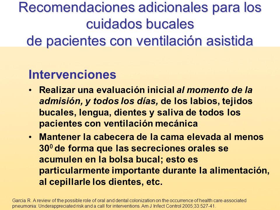 Recomendaciones adicionales para los cuidados bucales de pacientes con ventilación asistida Intervenciones Realizar una evaluación inicial al momento