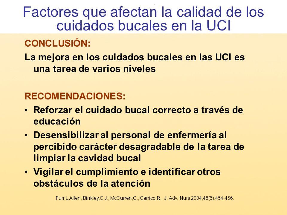 CONCLUSIÓN: La mejora en los cuidados bucales en las UCI es una tarea de varios niveles RECOMENDACIONES: Reforzar el cuidado bucal correcto a través d