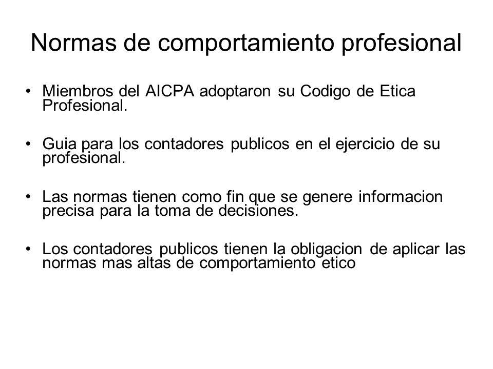 Normas de comportamiento profesional Miembros del AICPA adoptaron su Codigo de Etica Profesional.
