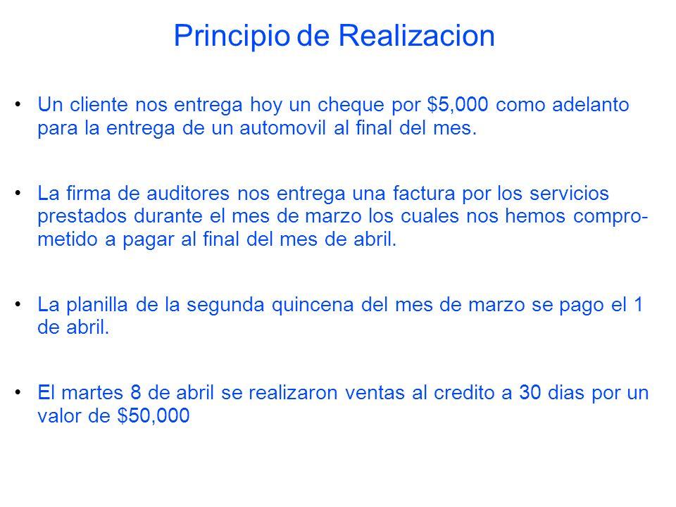 Principio de Realizacion Un cliente nos entrega hoy un cheque por $5,000 como adelanto para la entrega de un automovil al final del mes.