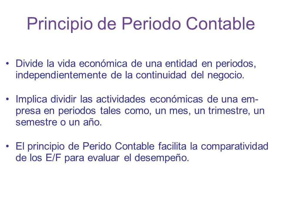 Principio de Periodo Contable Divide la vida económica de una entidad en periodos, independientemente de la continuidad del negocio.