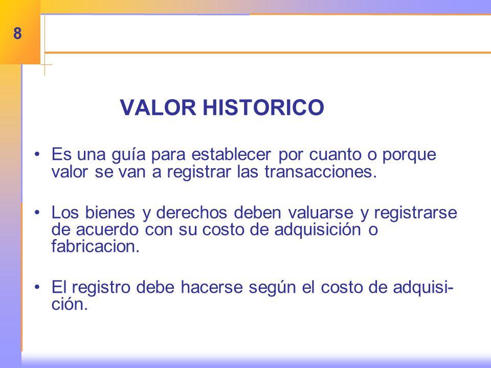 VALOR HISTORICO Es una guía para establecer por cuanto o porque valor se van a registrar las transacciones.
