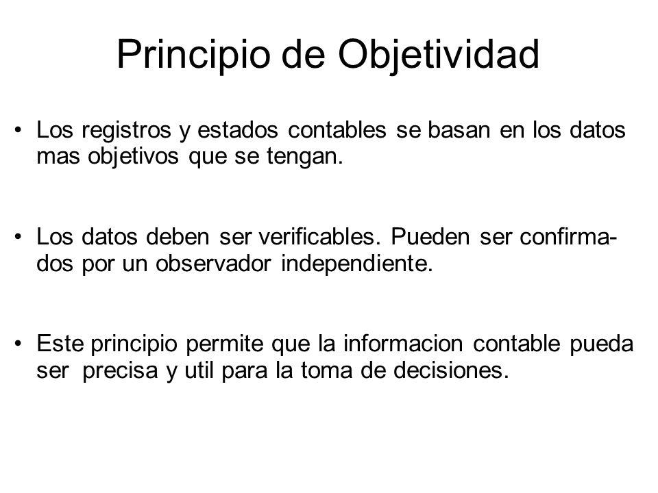 Principio de Objetividad Los registros y estados contables se basan en los datos mas objetivos que se tengan.
