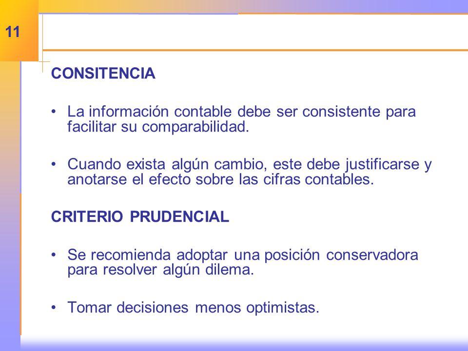 CONSITENCIA La información contable debe ser consistente para facilitar su comparabilidad.
