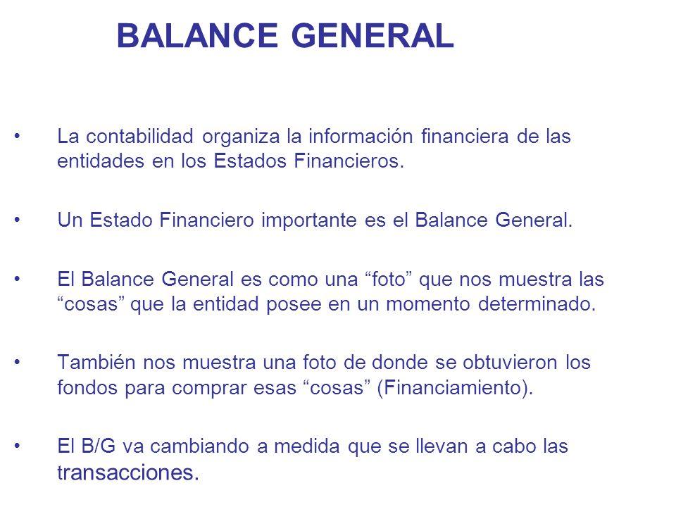BALANCE GENERAL La contabilidad organiza la información financiera de las entidades en los Estados Financieros.