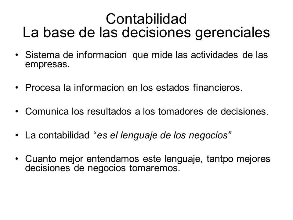 Contabilidad La base de las decisiones gerenciales Sistema de informacion que mide las actividades de las empresas.