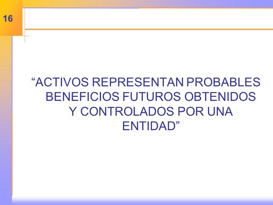 ACTIVOS REPRESENTAN PROBABLES BENEFICIOS FUTUROS OBTENIDOS Y CONTROLADOS POR UNA ENTIDAD 16