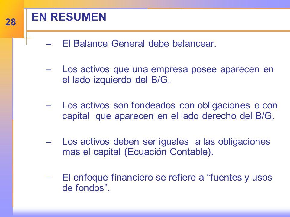EN RESUMEN –E–El Balance General debe balancear.
