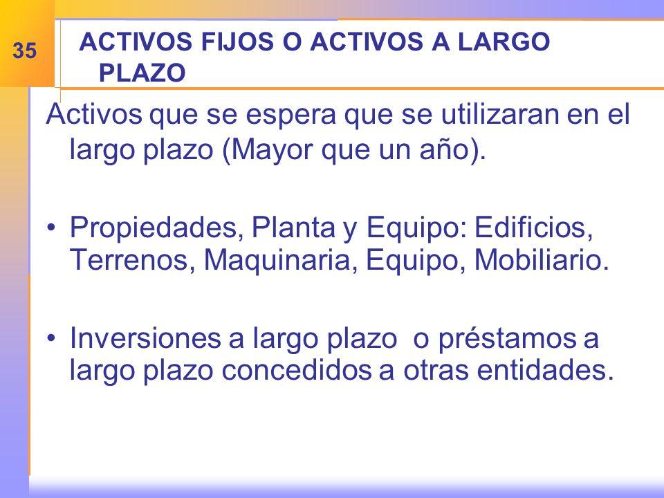 ACTIVOS FIJOS O ACTIVOS A LARGO PLAZO Activos que se espera que se utilizaran en el largo plazo (Mayor que un año).
