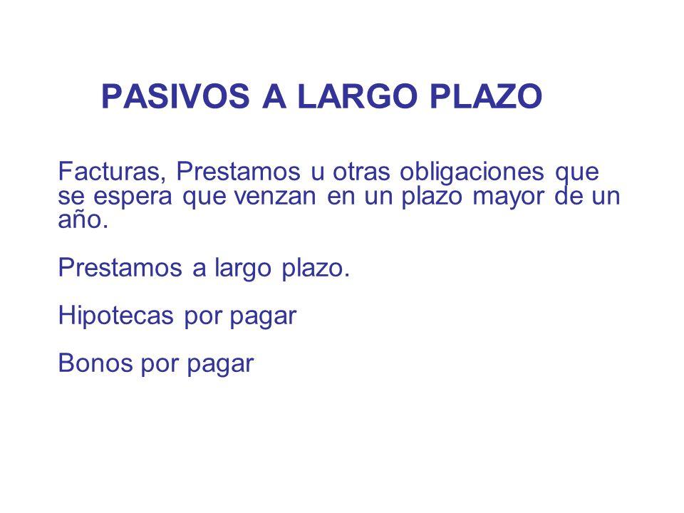 PASIVOS A LARGO PLAZO Facturas, Prestamos u otras obligaciones que se espera que venzan en un plazo mayor de un año.