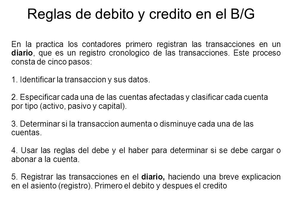 Reglas de debito y credito en el B/G En la practica los contadores primero registran las transacciones en un diario, que es un registro cronologico de las transacciones.