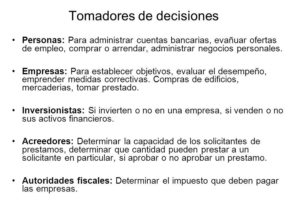 Tomadores de decisiones Personas: Para administrar cuentas bancarias, evañuar ofertas de empleo, comprar o arrendar, administrar negocios personales.