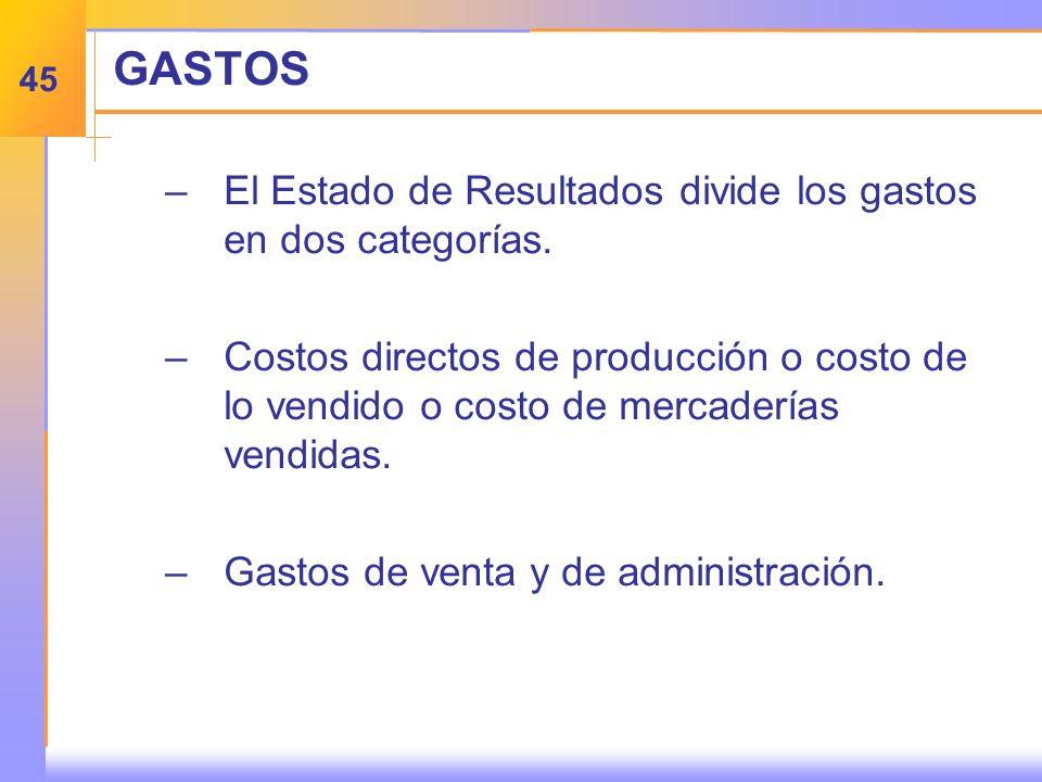 GASTOS –E–El Estado de Resultados divide los gastos en dos categorías.