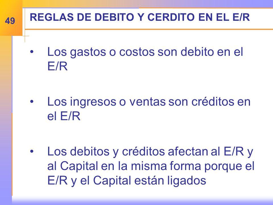REGLAS DE DEBITO Y CERDITO EN EL E/R Los gastos o costos son debito en el E/R Los ingresos o ventas son créditos en el E/R Los debitos y créditos afectan al E/R y al Capital en la misma forma porque el E/R y el Capital están ligados 49