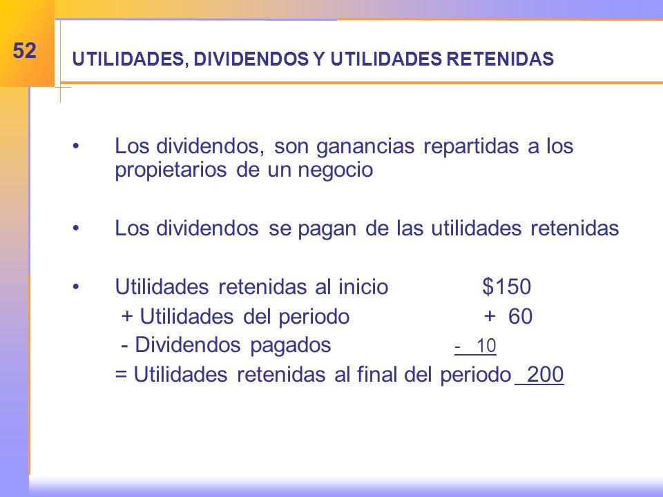 UTILIDADES, DIVIDENDOS Y UTILIDADES RETENIDAS Los dividendos, son ganancias repartidas a los propietarios de un negocio Los dividendos se pagan de las utilidades retenidas Utilidades retenidas al inicio$150 + Utilidades del periodo + 60 - Dividendos pagados - 10 = Utilidades retenidas al final del periodo 200 52