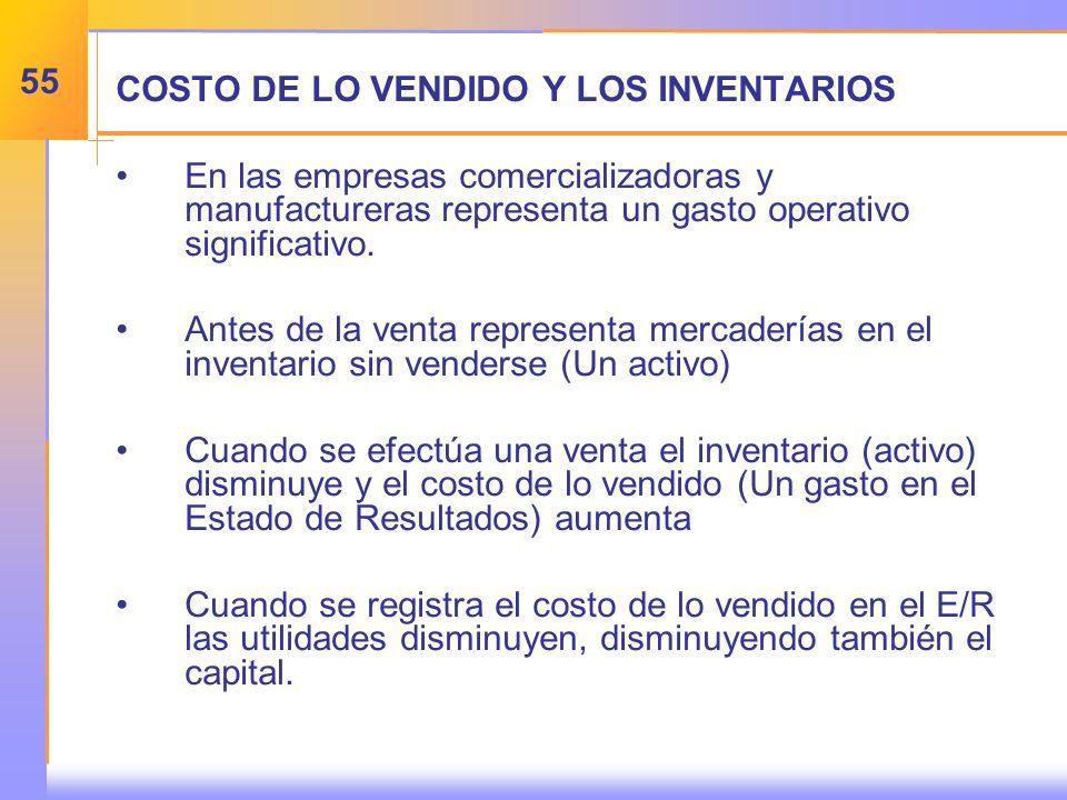COSTO DE LO VENDIDO Y LOS INVENTARIOS En las empresas comercializadoras y manufactureras representa un gasto operativo significativo.