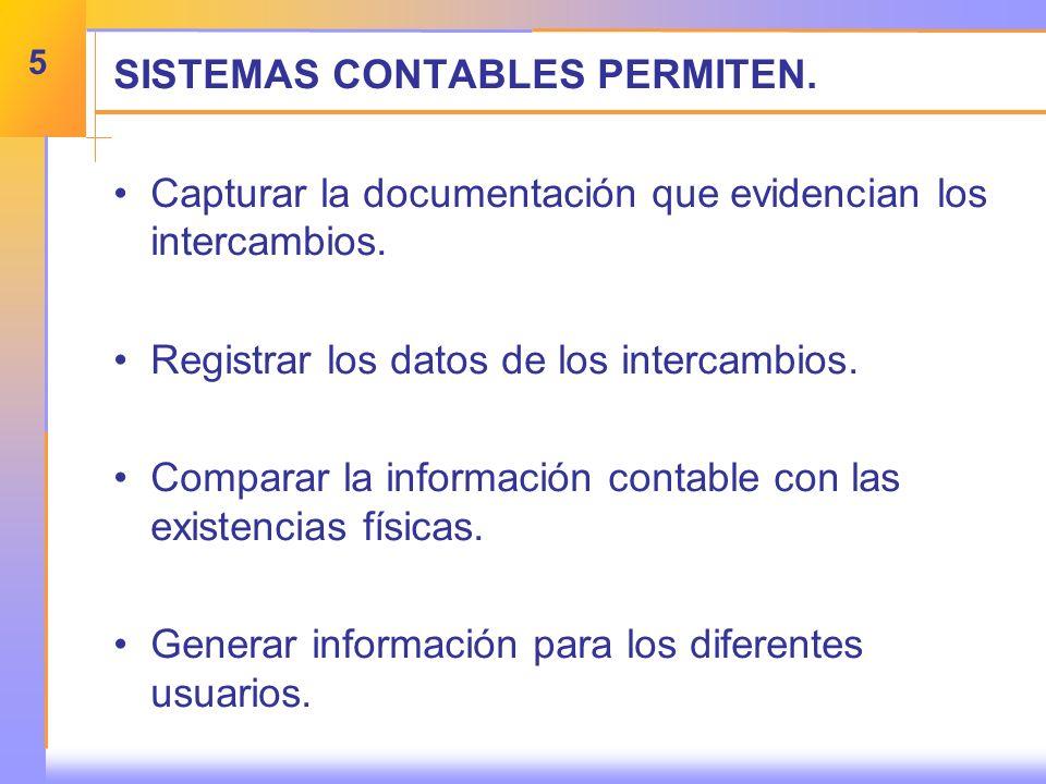 SISTEMAS CONTABLES PERMITEN. Capturar la documentación que evidencian los intercambios.