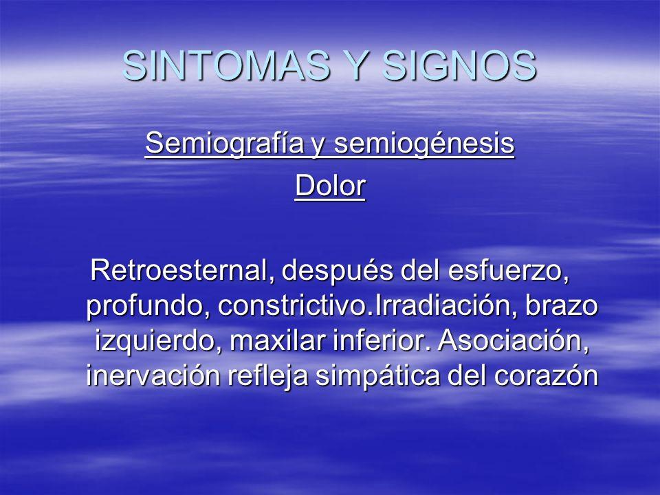SINTOMAS Y SIGNOS Semiografía y semiogénesis Dolor Retroesternal, después del esfuerzo, profundo, constrictivo.Irradiación, brazo izquierdo, maxilar i