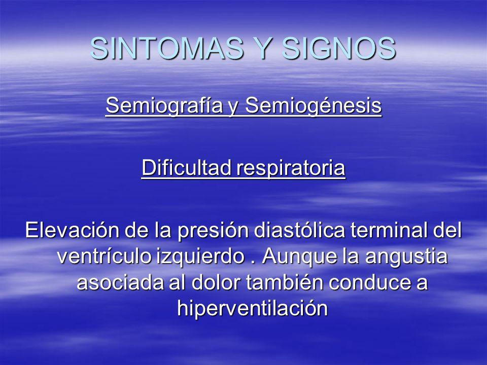 SINTOMAS Y SIGNOS Semiografía y Semiogénesis Dificultad respiratoria Elevación de la presión diastólica terminal del ventrículo izquierdo. Aunque la a