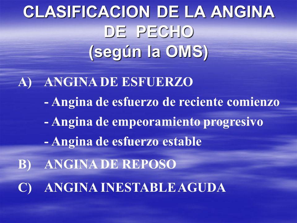 CLASIFICACION DE LA ANGINA DE PECHO (según la OMS) CLASIFICACION DE LA ANGINA DE PECHO (según la OMS) A) ANGINA DE ESFUERZO - Angina de esfuerzo de re
