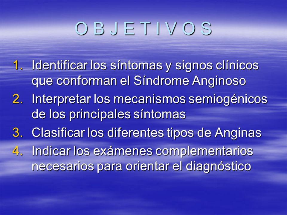 O B J E T I V O S 1.Identificar los síntomas y signos clínicos que conforman el Síndrome Anginoso 2.Interpretar los mecanismos semiogénicos de los pri
