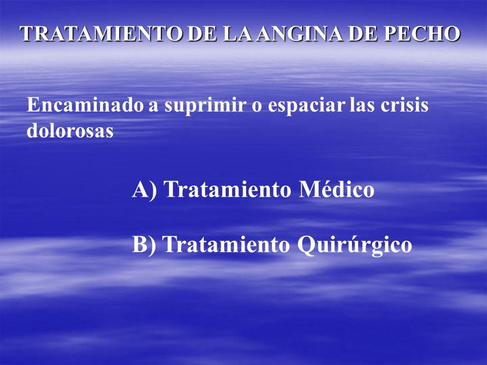 TRATAMIENTO DE LA ANGINA DE PECHO Encaminado a suprimir o espaciar las crisis dolorosas A) Tratamiento Médico B) Tratamiento Quirúrgico