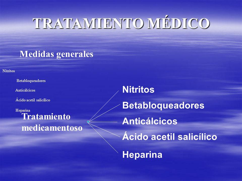 TRATAMIENTO MÉDICO Medidas generales Tratamiento medicamentoso Nitritos Betabloqueadores Anticálcicos Ácido acetil salicílico Heparina Nitritos Betabl