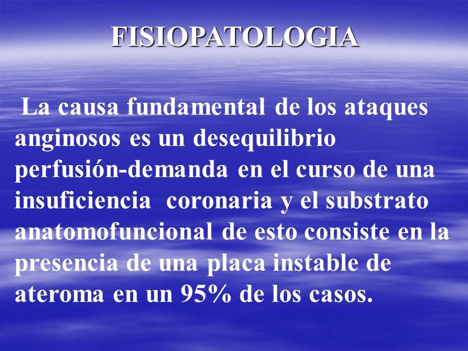 La causa fundamental de los ataques anginosos es un desequilibrio perfusión-demanda en el curso de una insuficiencia coronaria y el substrato anatomof