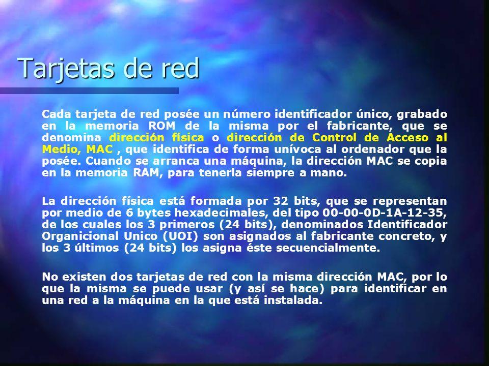 Tarjetas de red Cada tarjeta de red posée un número identificador único, grabado en la memoria ROM de la misma por el fabricante, que se denomina dire