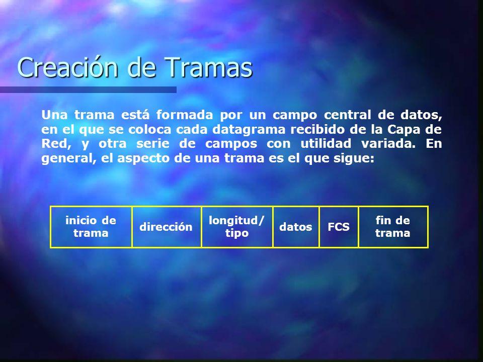 Creación de Tramas Una trama está formada por un campo central de datos, en el que se coloca cada datagrama recibido de la Capa de Red, y otra serie d