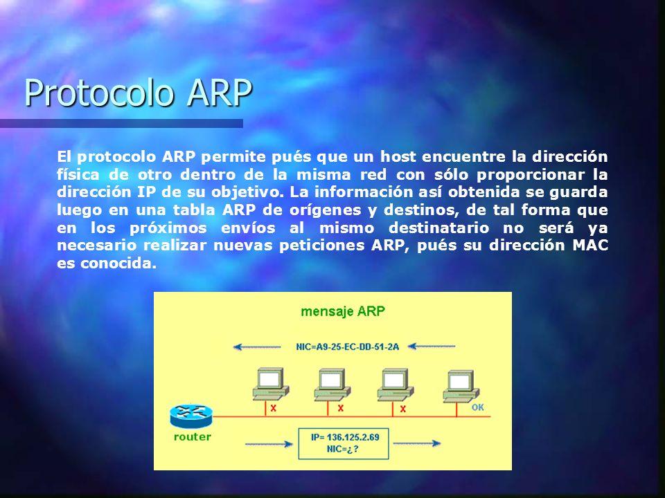 Protocolo ARP El protocolo ARP permite pués que un host encuentre la dirección física de otro dentro de la misma red con sólo proporcionar la direcció