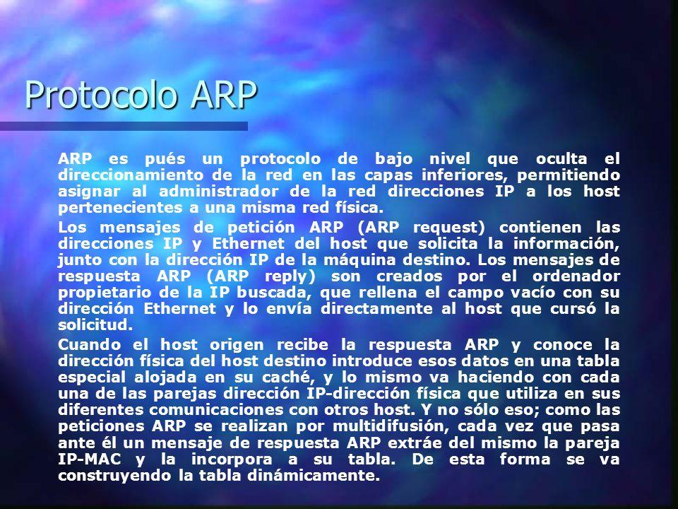 Protocolo ARP ARP es pués un protocolo de bajo nivel que oculta el direccionamiento de la red en las capas inferiores, permitiendo asignar al administ