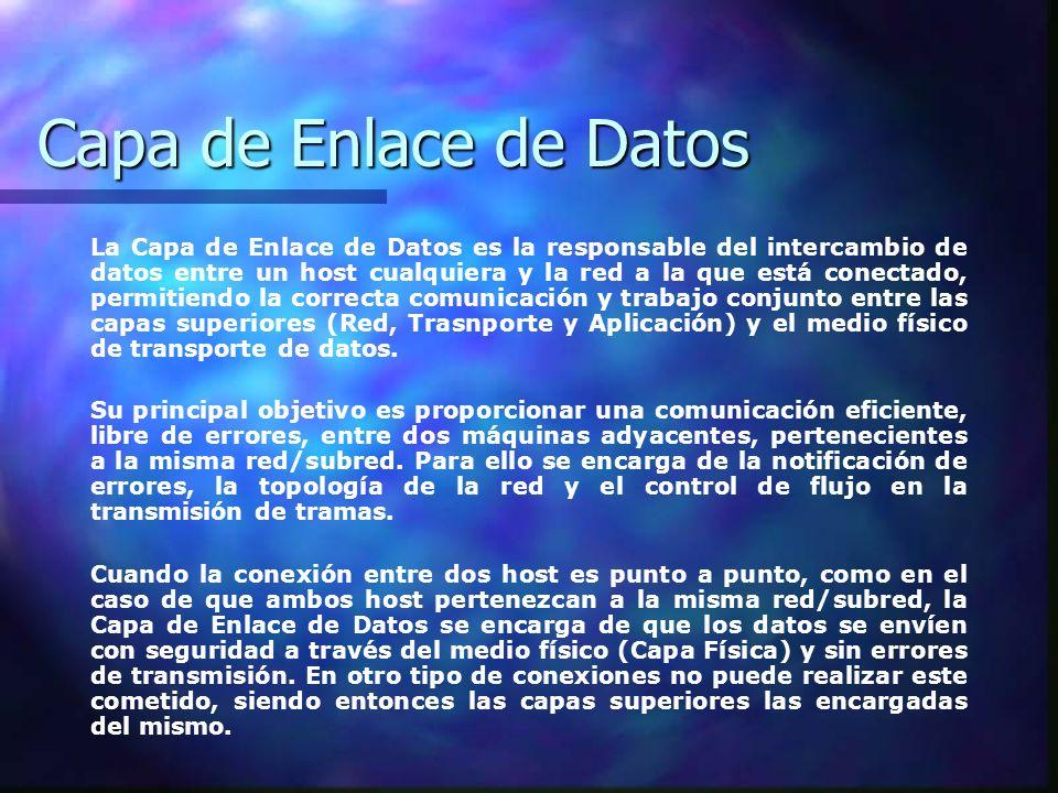 Capa de Enlace de Datos Por este motivo podemos afirmar que la Capa de Enlace de Datos es la encargada de la transmisión y direccionamiento de datos entre host situados en la misma red/subred, mientras que la capa de Red (Internet) es la encargada de la transmisión y direccionamiento de datos entre host situados en redes diferentes.